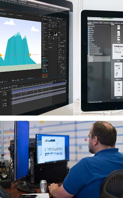 A collage of motion graphic software on computer screens