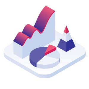 Icon of charts and graphs in 3D