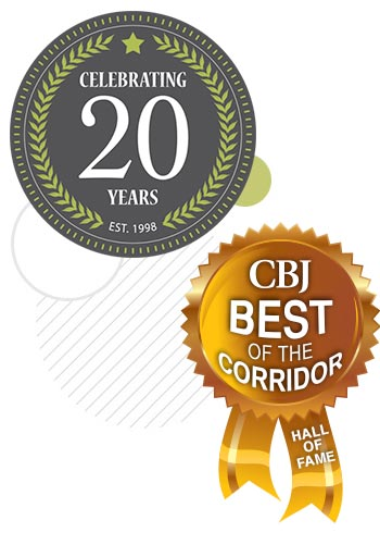 CBJ Best of the Corridor Ribbon and the Informatics 20 Years badge