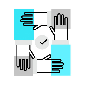 Icon of hands interconnected