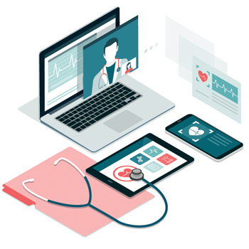 A medical application is illustrated on a desktop, phone, and tablet device