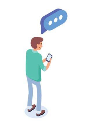 Illustrated person using a smart phone to comment