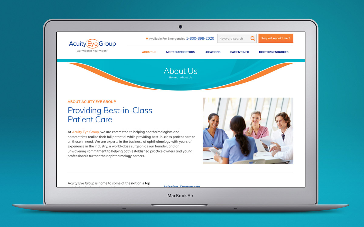 Acuity Eye Group website on laptop computer