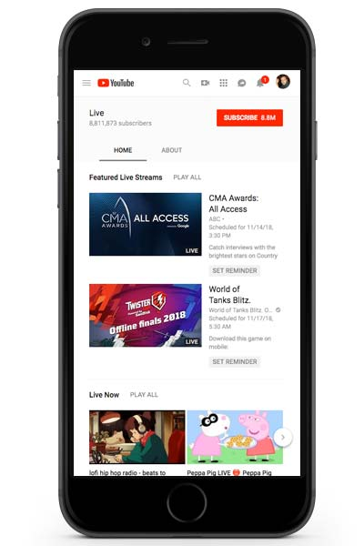 Youtube live stream feed shown on mobile phone
