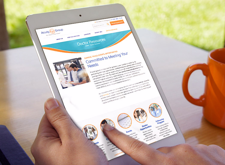 Acuity Eye Group website on tablet