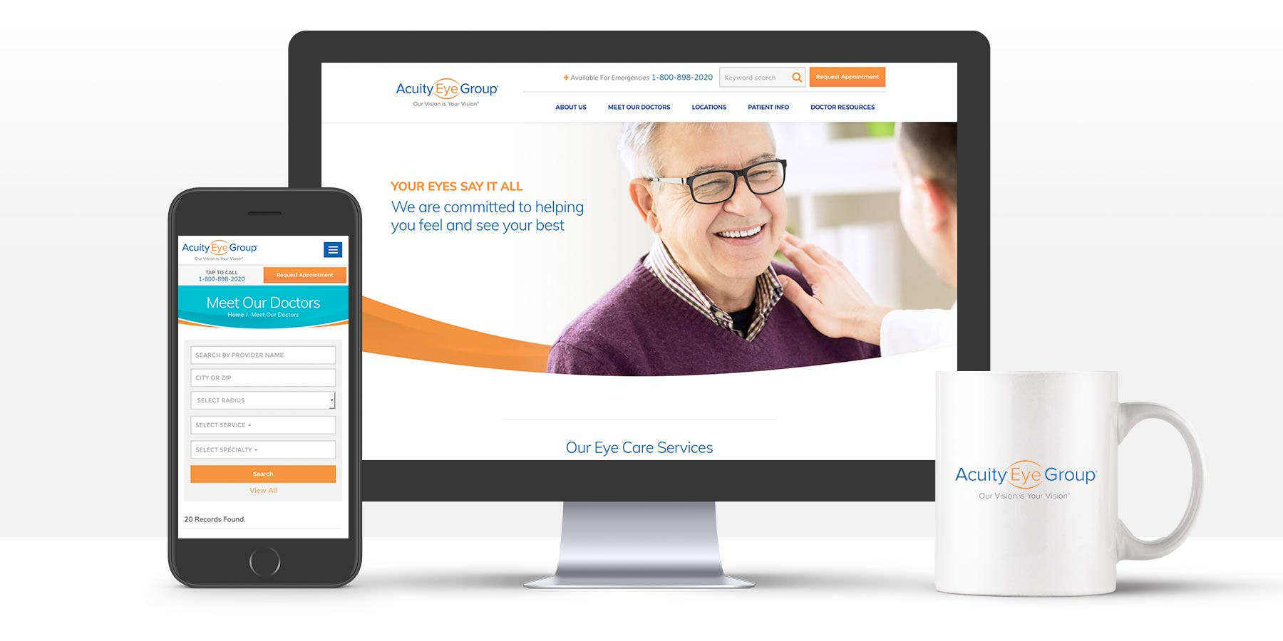 Acuity Eye Group website on various devices
