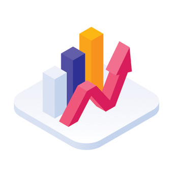 3D icon of a chart going up