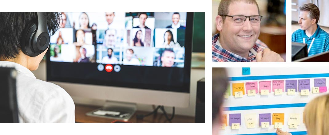 An image collage of video conference workers and the Informatics team