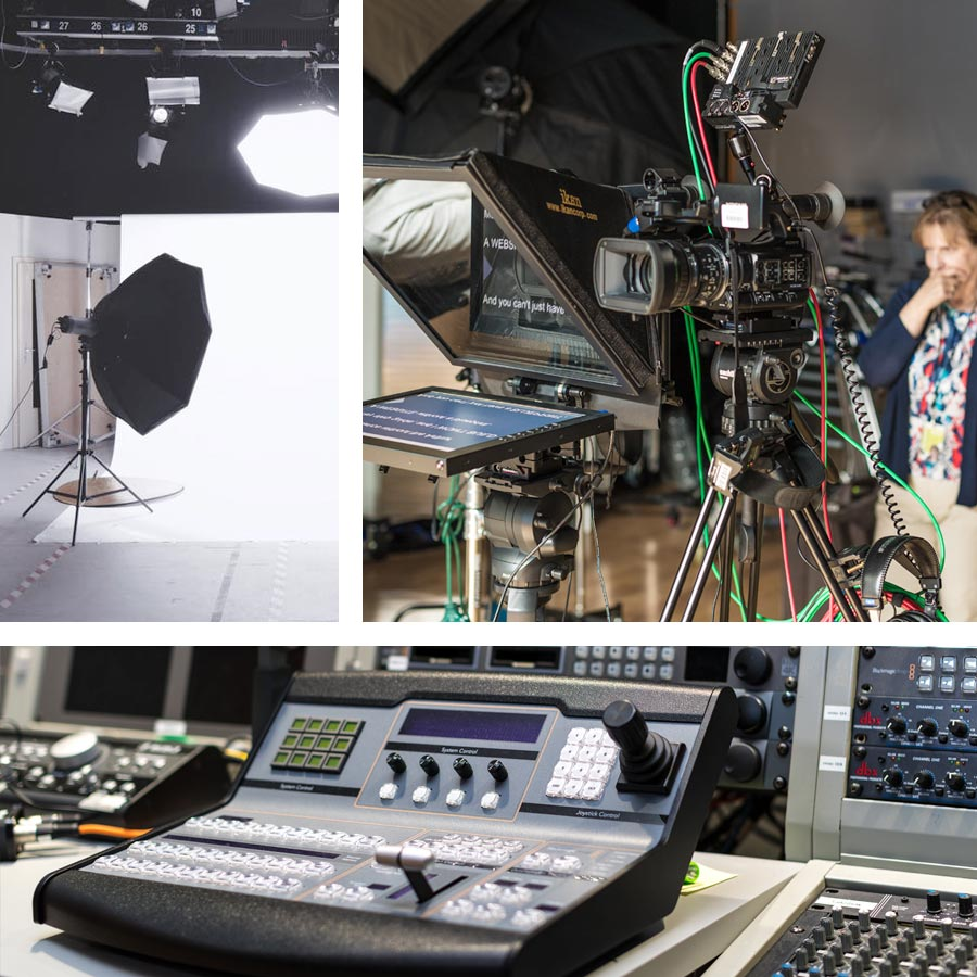 A collage of various studio equipment images