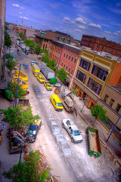 Vibrant timelapse of a street after the Cedar Rapids Flood