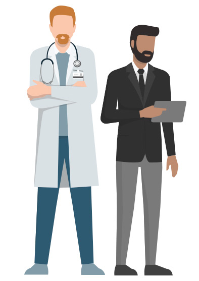 Vector illustration of staff members