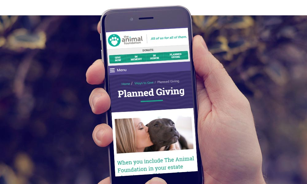 The Animal Foundation site on a mobile device