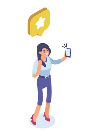 Illustrated cartoon of a person using a smart phone