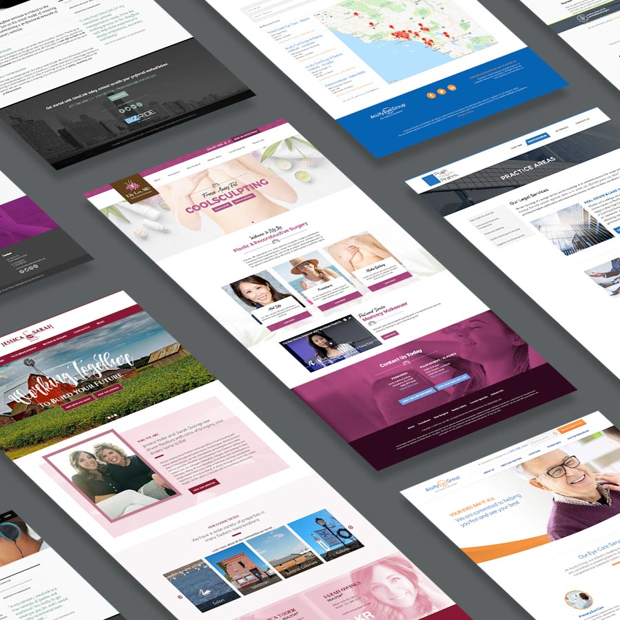 Isometric view of various web design projects