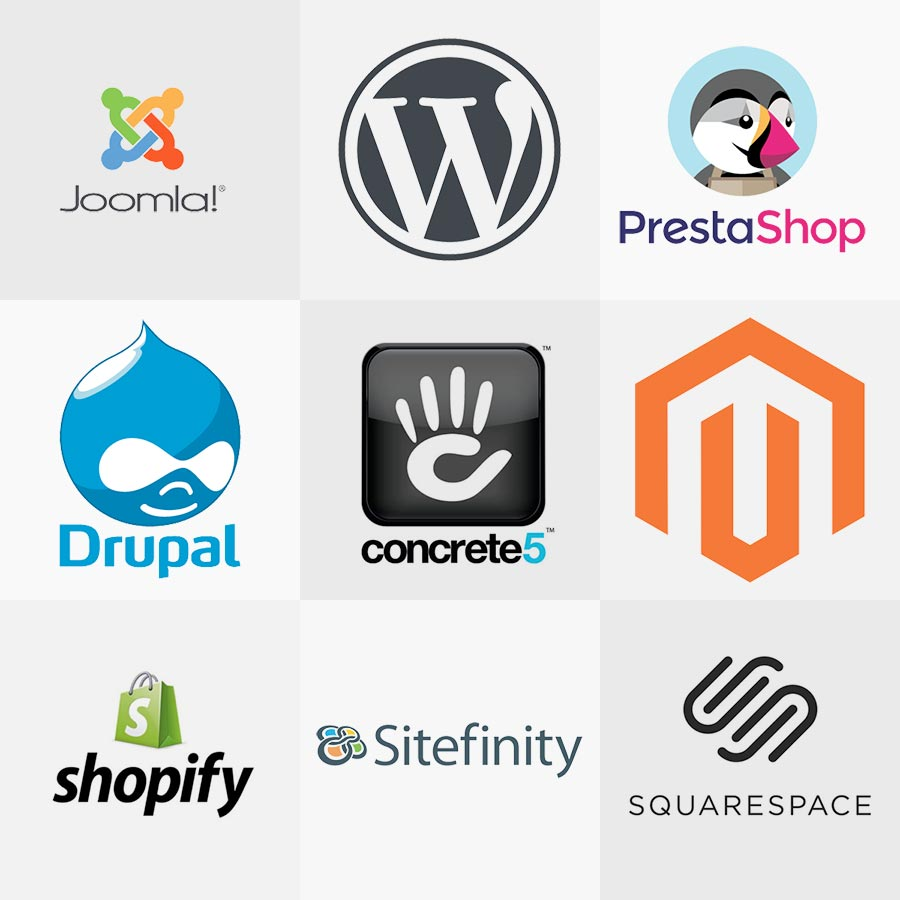 Popular CMS logos appear, including wordpress, concrete5, joomla, shopify, and magento, among others.
