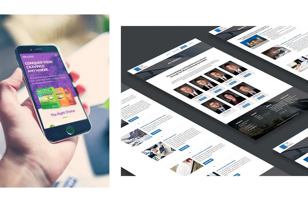 A phone displays a website next to another image of various website layouts