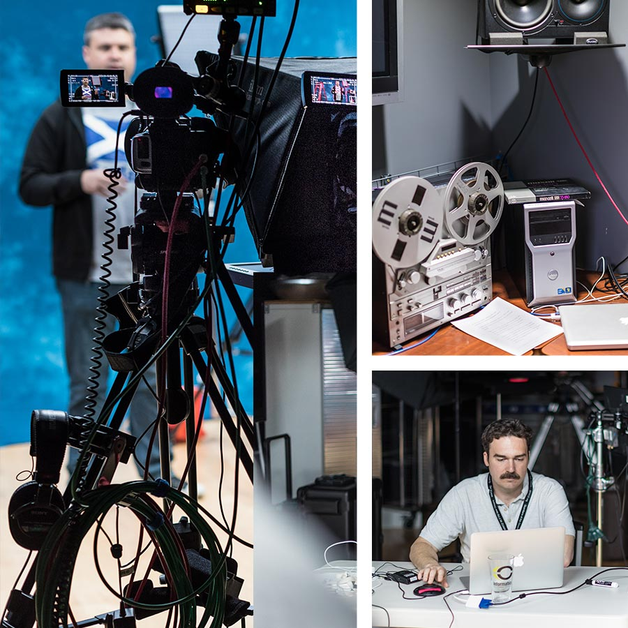 A collage of Informatics' media team using video cameras and media equipment