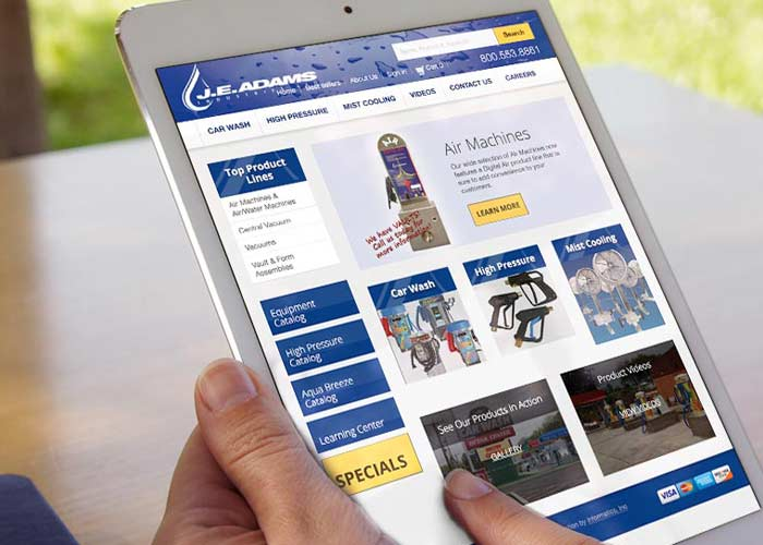 E-Commerce site on a tablet
